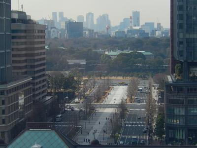 久しぶりにグラントウキョウノースタワー12階から見られる東京駅及び東京駅舎前の行幸通りの風景