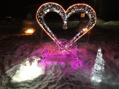 ライトアップされたかまくらがたくさん かまくら祭り 雪の中の湯西川温泉