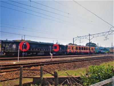 クロくまモン オレンジくまモン 青くまモン 夢のくまモン列車三重連に乗ったんだもん♪