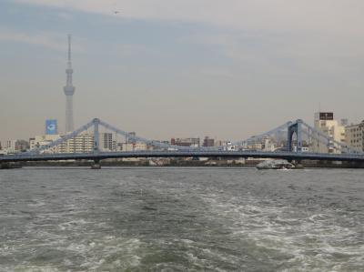 東京クルーズ・・桜満開の隅田川を浅草から浜離宮まで、アワータウン号で橋めぐりです。