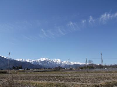 長野県安曇野近くからのアルプス山脈の景色・・・