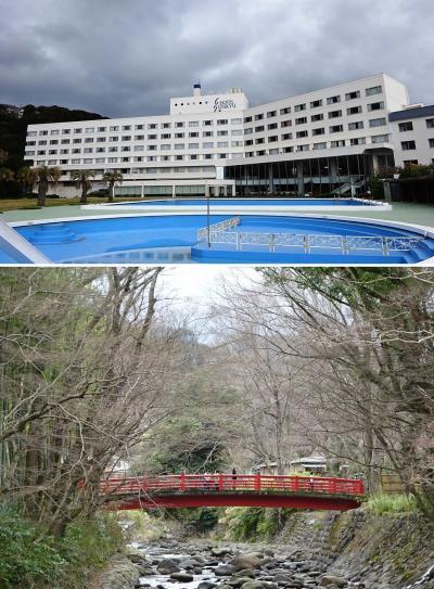 関西人にはなじみの薄い、岩崎弥太郎長男久彌氏の伊豆半島別邸「三養荘」に泊まるツアー。最初は、伊豆白浜温泉でホテルと旅館がドッキングしたようなホテル?