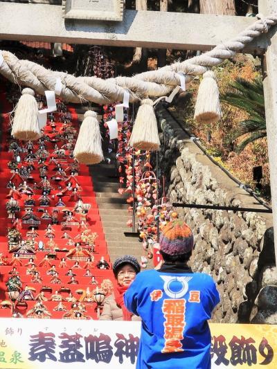 稲取-2 素盞嗚神社 雛段飾り 壮観!階段118段も ☆毎朝飾り毎夕片付けで
