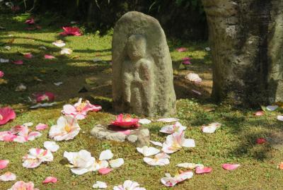 2018春、関西の花のお寺巡り(1/16):4月10日(1):百毫寺(1):名古屋からバスで奈良へ、ツバメ、地蔵尊、五色椿