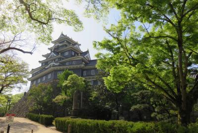2018春、岡山と兵庫の名城巡り(1/16):4月20日(1):岡山城(1):名古屋から新幹線で岡山へ、市電で岡山城へ