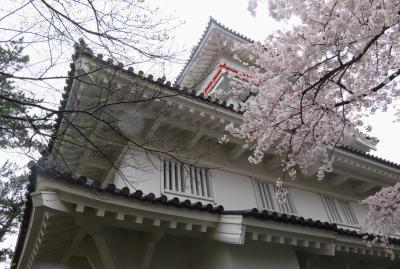 2018春、東北北部の名城巡り(3/28):4月24日(3):久保田城(3):本丸、隅櫓、茶庭、舟形手水鉢、河骨