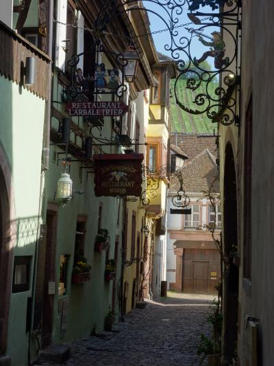 リクヴィルは坂道の街。Riquewihr とは難しい名前ですね。