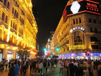 上海の南京東路・夜景・2018年5月