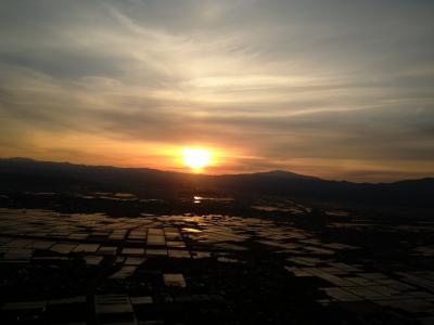 ただ今、JALで移動中(*^-^*) 第四十五弾>>>>夕焼けの月山が綺麗な山形へ!!空からの景色、そして山形のお酒!!o(^-^)o