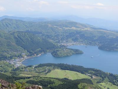 今年も箱根観光の旅を行う⑲駒ケ岳山頂からの展望と箱根園の風景
