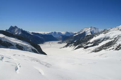 スイスツアーのハイライト、ユングフラウヨッホからアレッチ氷河を眺める