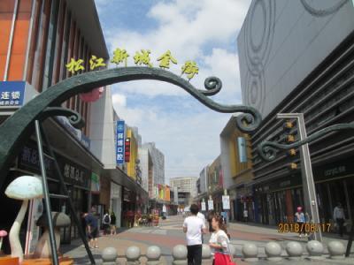 上海の松江万達広場・屋外飲食店街(松江新城金街)