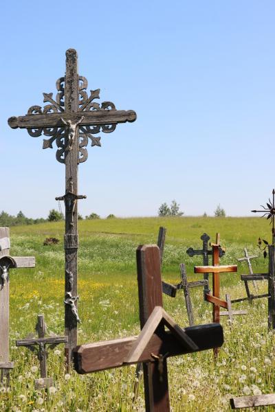 ライラック咲き、アコーディオンの音色流れるヘルシンキ&バルト三国の旅(5)野の花が十字架に優しく寄り添う春の丘(^^♪