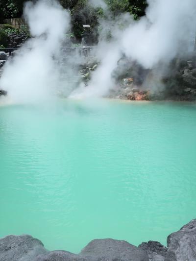 九州38 別府1/5 海地獄 コバルトブルーの湯たたえ広々 ☆地獄噴気利用温室も見学