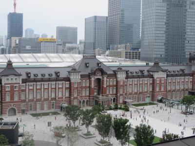 新丸の内ビル7階テラスよりみられる東京駅丸の内側の風景