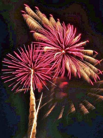 神明の花火-3 大玉連発スターマイン 華麗に! ☆個性豊かな色形・変化多様に