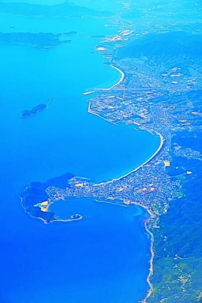 大分空港 JAL665便 13:45定刻到着 ☆四国・佐多岬-豊予海峡を越えて