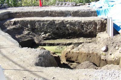 下川橋袂の発掘現場