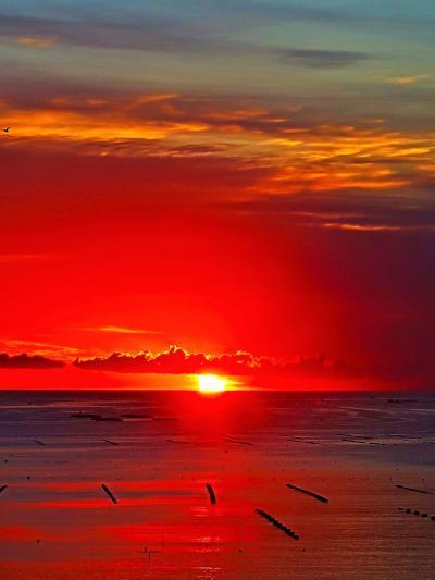 三陸南部-9 荘厳な夜明け・日の出5:20/志津川湾を染めて ☆南三陸/ホテル観洋ロビーで