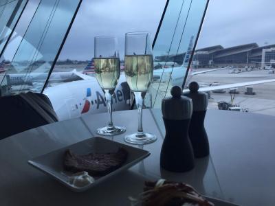 ラスベガス・アナハイムディズニー旅行記1 アメリカン航空、非常口座席に乗ってみた