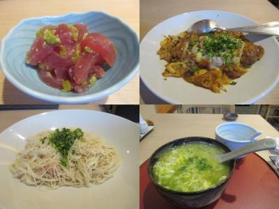 秋の沖縄・石垣島(32)ホテルのレストラン・ひるぎで頂く御馳走たち。マグロ、島らっきょう、ソーメンちゃんぷるー、アーサ雑炊。しめて800円!?