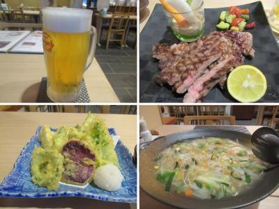 秋の沖縄・石垣島(38)やいま牛ステーキ、島野菜天ぷら、八重山そばちゃんぽん。