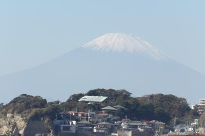 鎌倉行合川河口から見る富士山