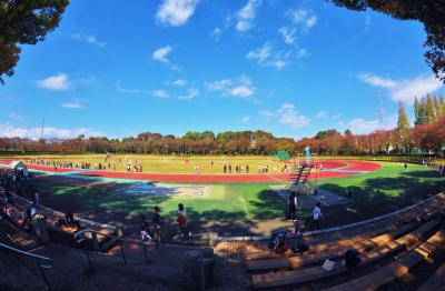 孫のサッカー観戦に秋留台公園へ