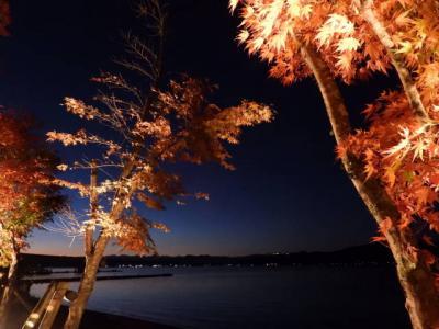 やまなし ライトアップのもみじを山中湖に観に行く 2018秋