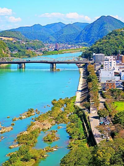 戦国史跡10 犬山城天守 木曽川と城下町の眺め ☆高欄の間に歴代城主像・展示物も