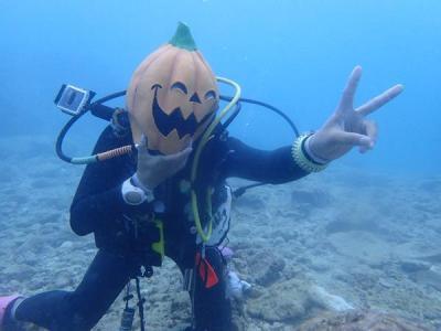 沖縄2018秋(18)ラストダイブは読谷沖で。海の中で「Trick or Treat」