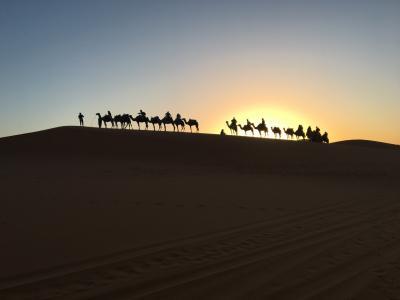 サハラ砂漠で今日という日の始まり