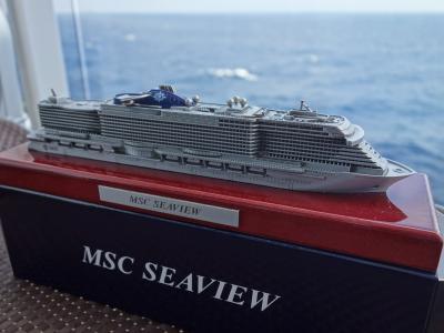 MSC Seaviewの航海。今日は終日航海です。クイズ大会で商品をゲットしました。