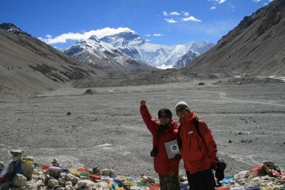 エベレストベースキャンプからエベレストを眺める