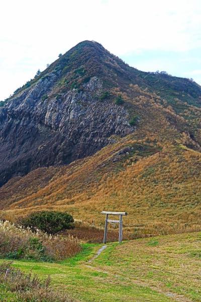 佐渡島16 大野亀 一枚岩は167メートルの高さ ☆トビシマカンゾウの群落で有名