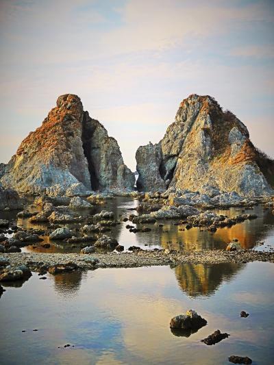 佐渡島18 夫婦岩 七浦海岸のシンボル ☆めおと岩ドライブインで休憩/買物