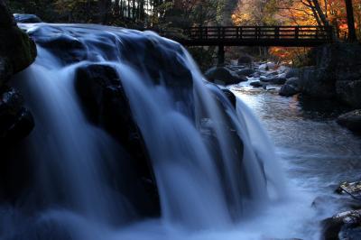 ◆晩秋の燃ゆる山鶏滝渓谷