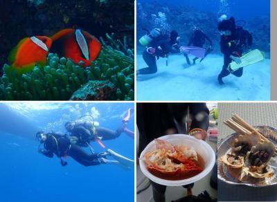 冬でも暖かい沖縄へ(15)ノリノリ楽しいダイビング。まだまだ遊び倒すゾー!海人さんの海の幸ふるまいで船上パーティーも!