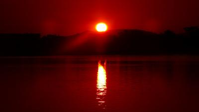 早朝散歩 瑞ヶ池公園の日の出と、十月桜を探して東野・大野・荻野地区を歩く その1。