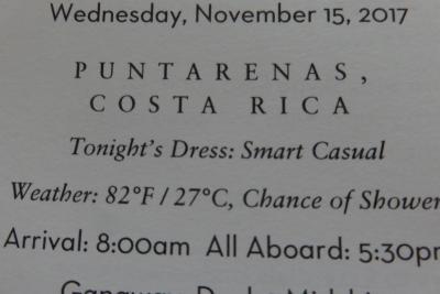 16 泊 Westerdam、★3★Wednesday, November 15 、2017Puntarenas, Costa Rica