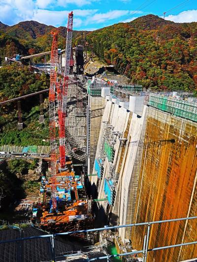長野原-3 八ッ場ダム工事現場で 急ピッチで作業.進捗は8割近く ☆2020年完成に向けて