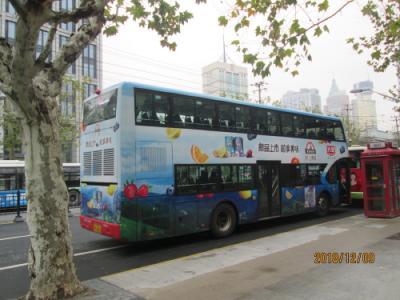 上海の老西門・911路バス・准海中路・二階建てバス