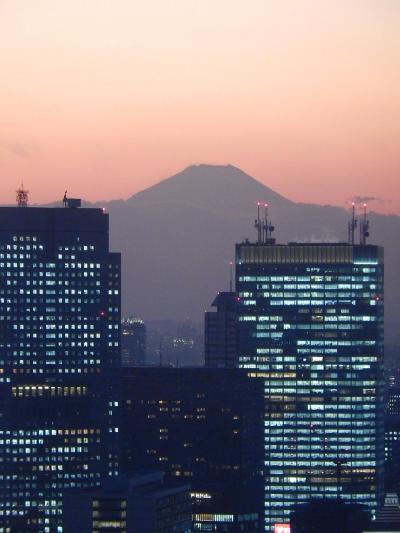 丸ビル35階から見られる黄昏時の風景・・影富士が見られました