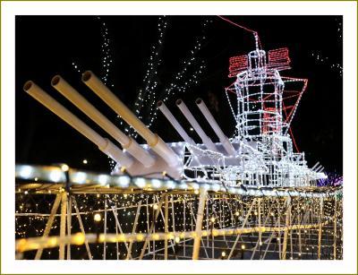 Solitary Journey[1967]軍港呉の夜空に幻想的に浮かび上がる戦艦大和・空母赤城・紫電改<2018イルミネーションロードくれ>広島県呉市