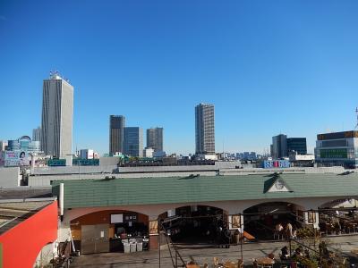 1月2日池袋東武百貨店8階屋上から見られる風景