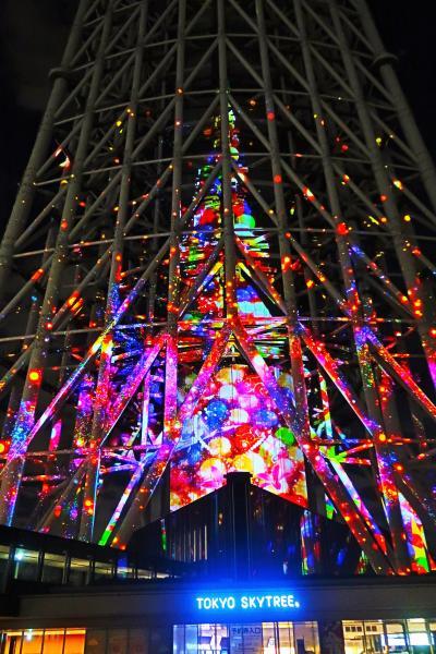 東京スカイツリー  メリークリスマス プロジェクションマッピング ☆塔体を染める迫力画像