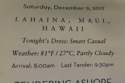 18泊Oosterdam 、★4★Saturday, December 9 .2017Lahaina, Maui, HI