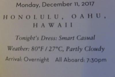 18泊Oosterdam ★6★Monday, December 11 .2017 Honolulu