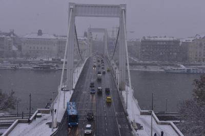 雪の中のブダペスト。