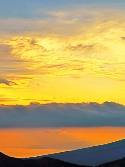 箱根16 桃源台⇒大涌谷 再び富士山 夕焼け空/茜色に ☆観光客減り駐車場も空いて